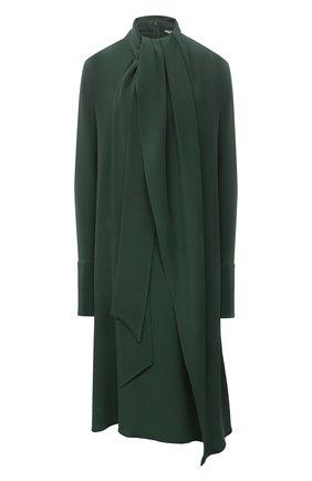 Женское шелковое платье LOEWE темно-зеленого цвета, арт. S359335XD2   Фото 1