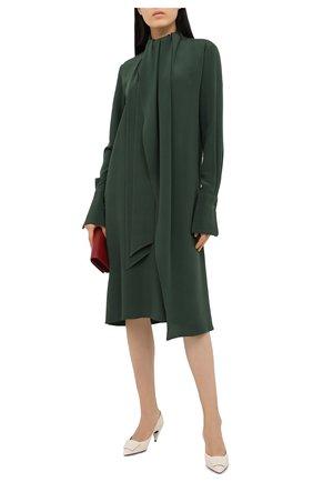 Женское шелковое платье LOEWE темно-зеленого цвета, арт. S359335XD2   Фото 2