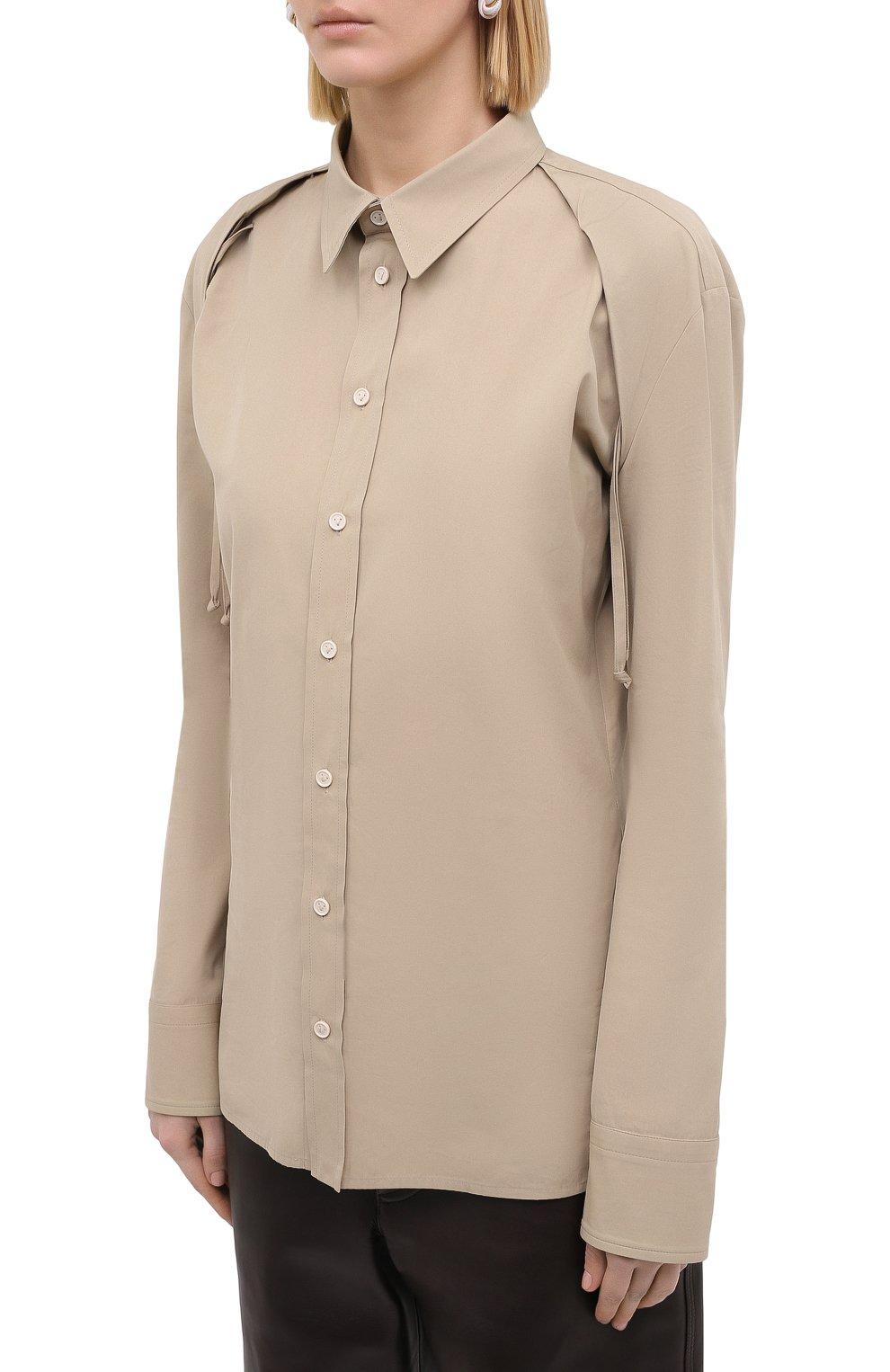 Женская рубашка BOTTEGA VENETA бежевого цвета, арт. 642090/VA5Y0 | Фото 3