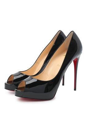 Женские кожаные туфли new very prive 120 CHRISTIAN LOUBOUTIN черного цвета, арт. new very prive 120 patent   Фото 1
