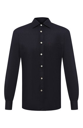 Мужская рубашка из шерсти и шелка KITON темно-синего цвета, арт. UMCNERK01Z9619 | Фото 1