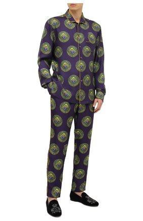 Мужские шелковые домашние брюки DOLCE & GABBANA фиолетового цвета, арт. GYB0HT/IS1FW | Фото 2