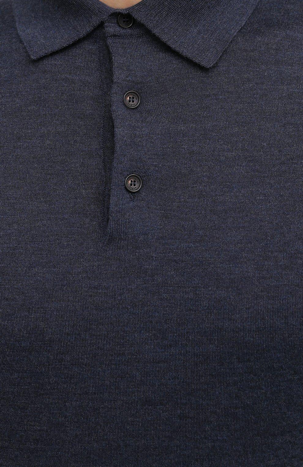 Мужское поло из кашемира и шелка ERMENEGILDO ZEGNA синего цвета, арт. UVJ00/132   Фото 5 (Застежка: Пуговицы; Материал внешний: Шерсть, Шелк, Кашемир; Рукава: Длинные; Длина (для топов): Стандартные; Кросс-КТ: Трикотаж; Стили: Кэжуэл)