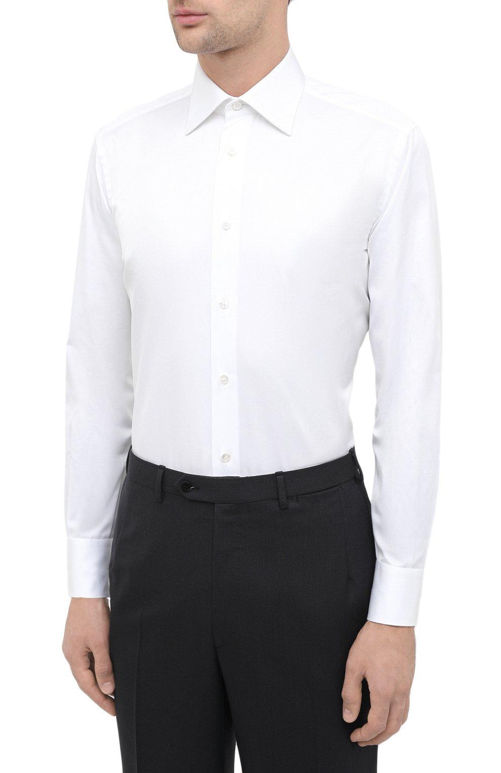 Мужская хлопковая сорочка BRIONI белого цвета, арт. RCA20L/P90C4 | Фото 3