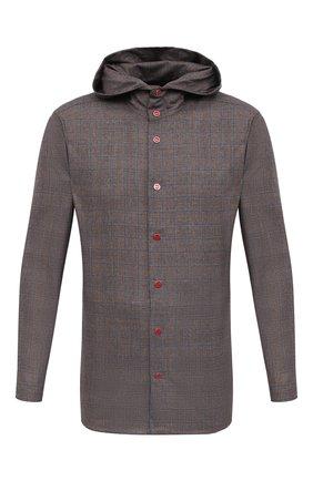 Мужская шерстяная рубашка KITON коричневого цвета, арт. UMCPETEK01X4907 | Фото 1