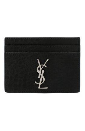 Мужской кожаный футляр для кредитных карт SAINT LAURENT черного цвета, арт. 485631/DM60E | Фото 1
