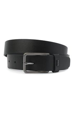 Мужской кожаный ремень BOSS черного цвета, арт. 50441420 | Фото 1