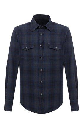 Мужская хлопковая рубашка TOM FORD темно-синего цвета, арт. 8FT853/94MEKI | Фото 1