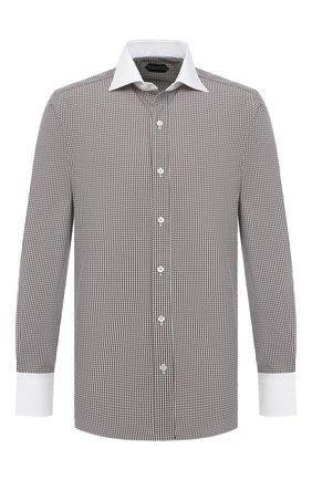Мужская хлопковая сорочка TOM FORD коричневого цвета, арт. 8FT618/94SWAX | Фото 1