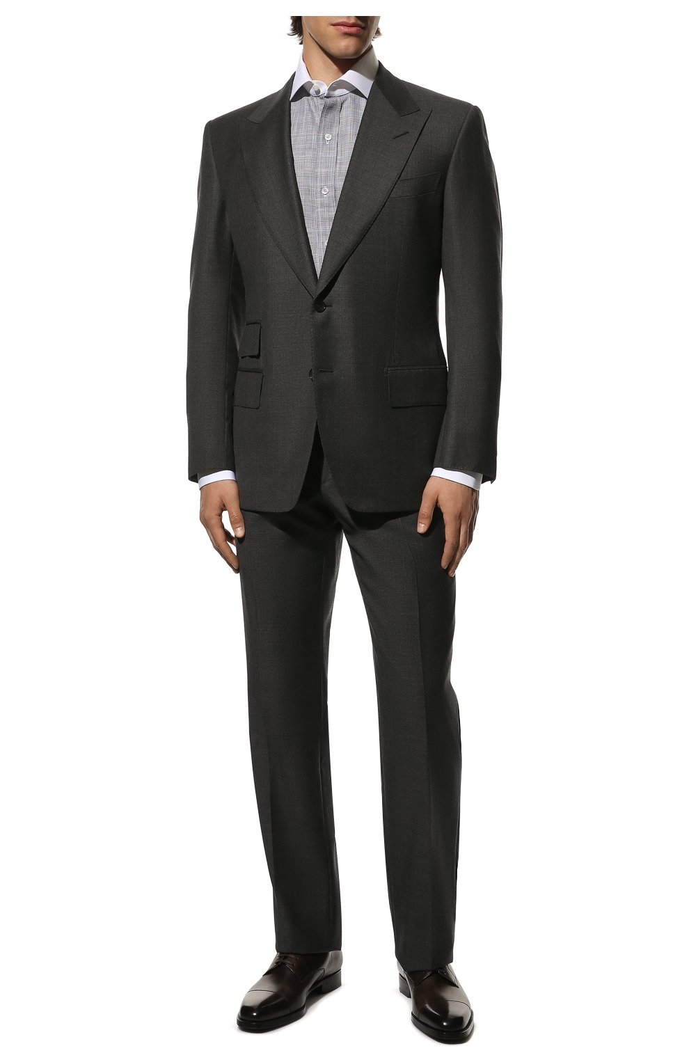 Мужская хлопковая сорочка TOM FORD серого цвета, арт. 8FT212/94SWAX | Фото 2
