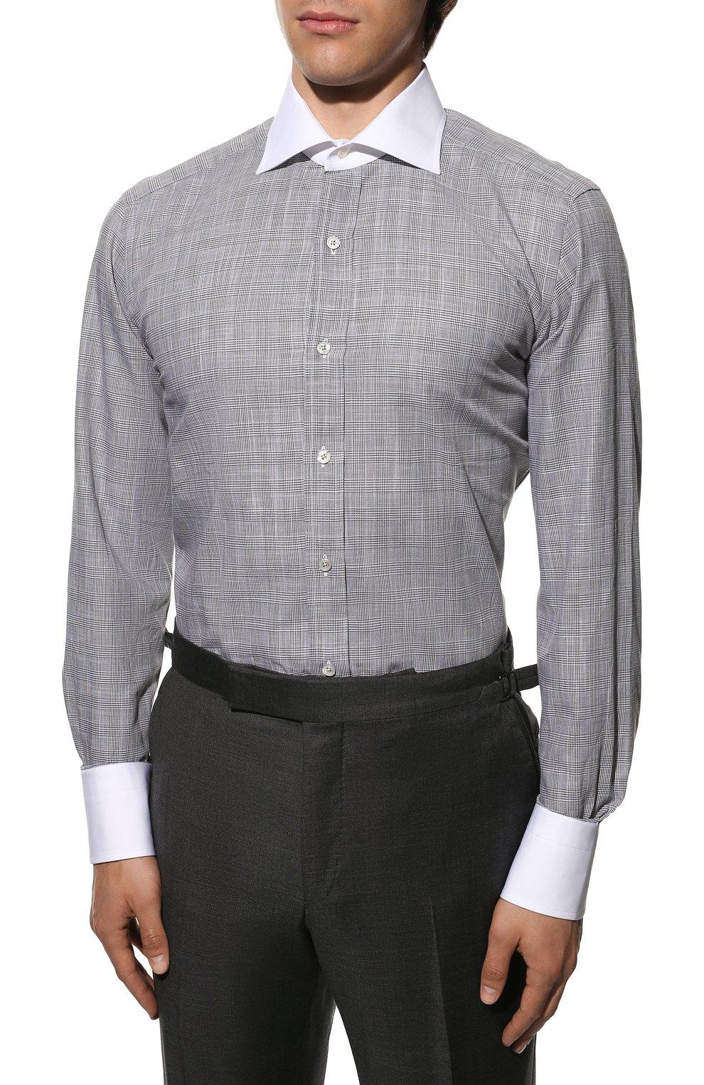 Мужская хлопковая сорочка TOM FORD серого цвета, арт. 8FT212/94SWAX | Фото 3
