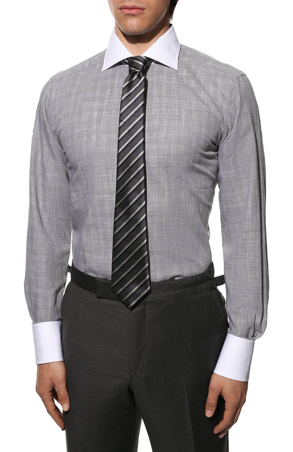 Мужская хлопковая сорочка TOM FORD серого цвета, арт. 8FT212/94SWAX | Фото 4