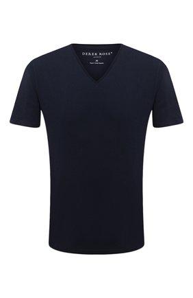 Мужские хлопковая футболка DEREK ROSE синего цвета, арт. 3053-RILE001   Фото 1