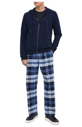Мужские хлопковые домашние брюки DEREK ROSE темно-синего цвета, арт. 3564-KELB012 | Фото 2
