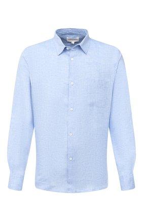 Мужская льняная рубашка DEREK ROSE синего цвета, арт. 9820-M0NA001 | Фото 1