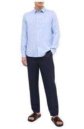 Мужская льняная рубашка DEREK ROSE синего цвета, арт. 9820-M0NA001 | Фото 2