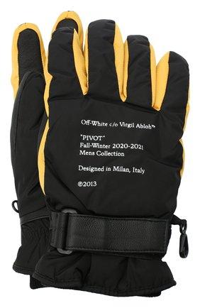 Мужские комбинированные перчатки OFF-WHITE желтого цвета, арт. 0MNE021E20FAB0011018 | Фото 1