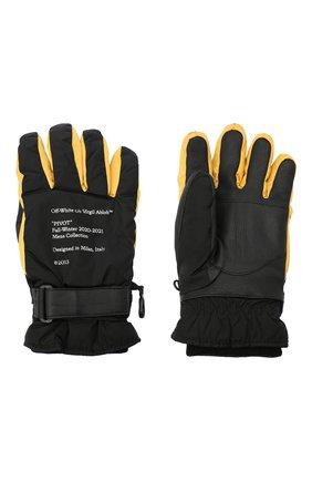 Мужские комбинированные перчатки OFF-WHITE желтого цвета, арт. 0MNE021E20FAB0011018 | Фото 2