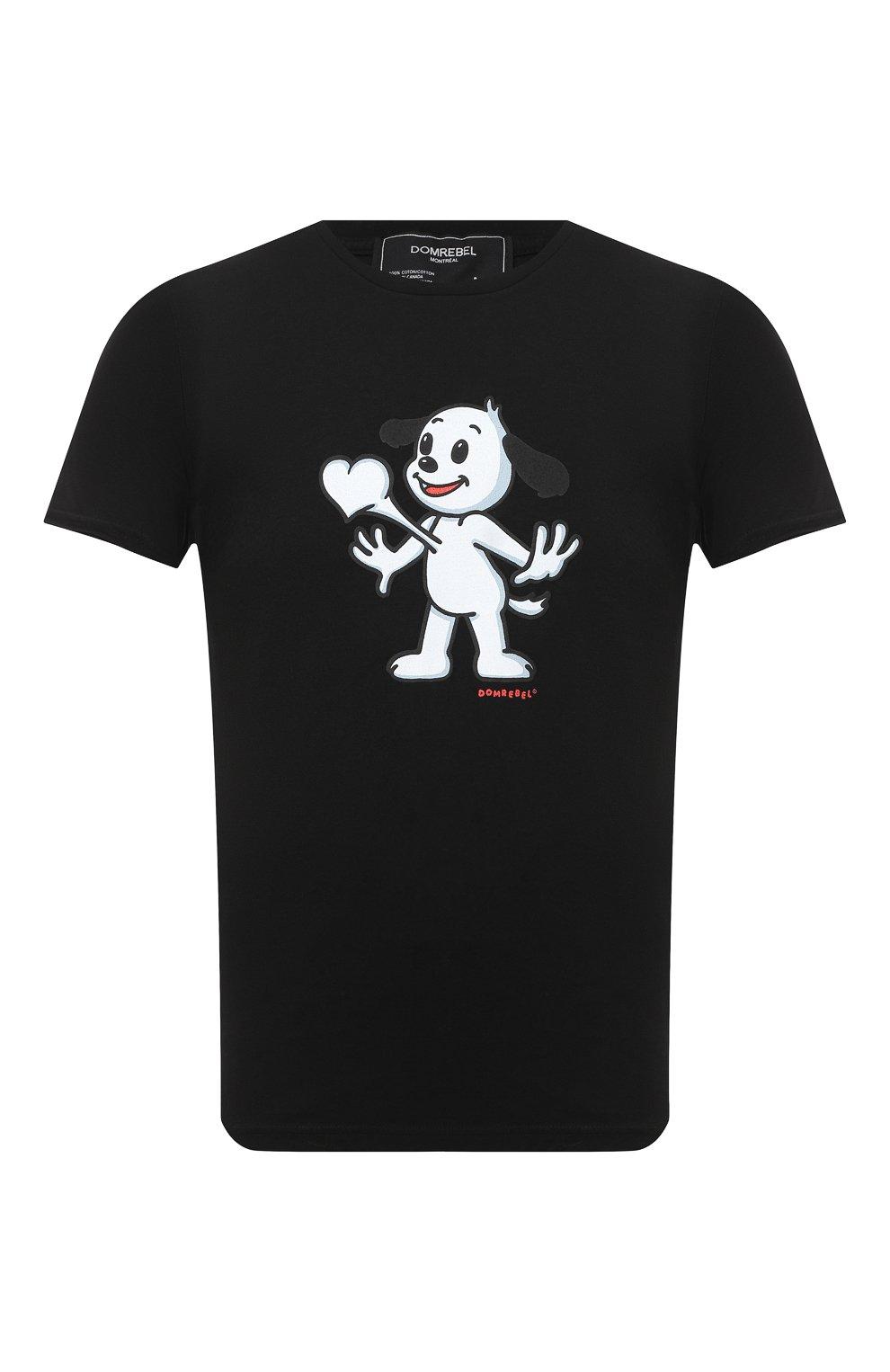 Мужская хлопковая футболка DOM REBEL черного цвета, арт. HEARTBEAT/T-SHIRT | Фото 1
