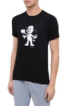 Мужская хлопковая футболка DOM REBEL черного цвета, арт. HEARTBEAT/T-SHIRT | Фото 3