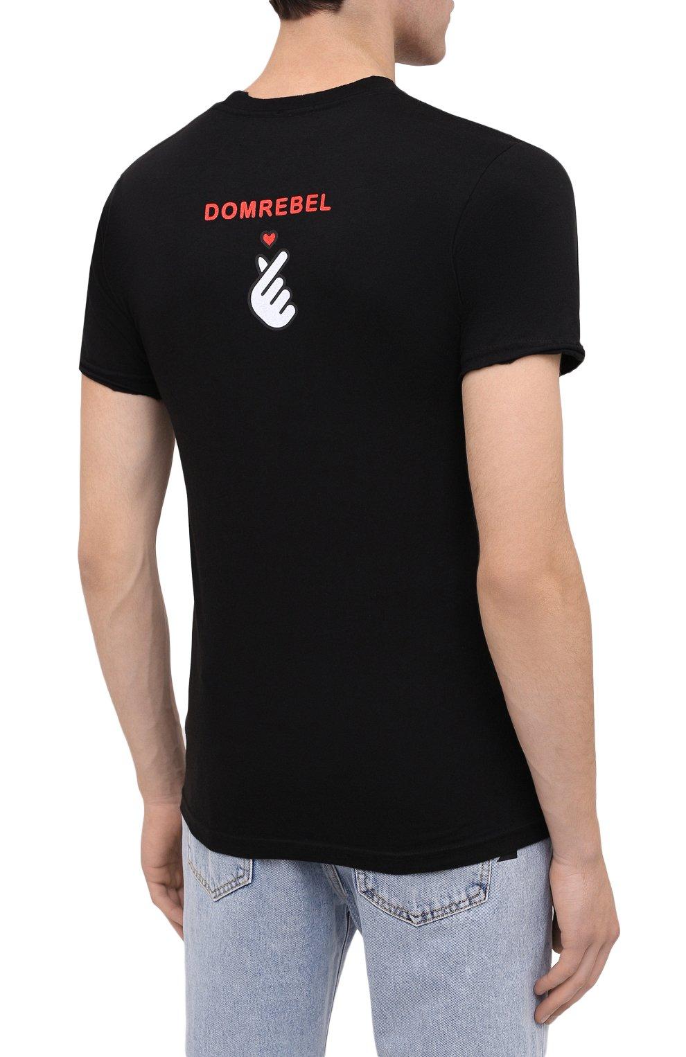 Мужская хлопковая футболка DOM REBEL черного цвета, арт. HEARTBEAT/T-SHIRT | Фото 4