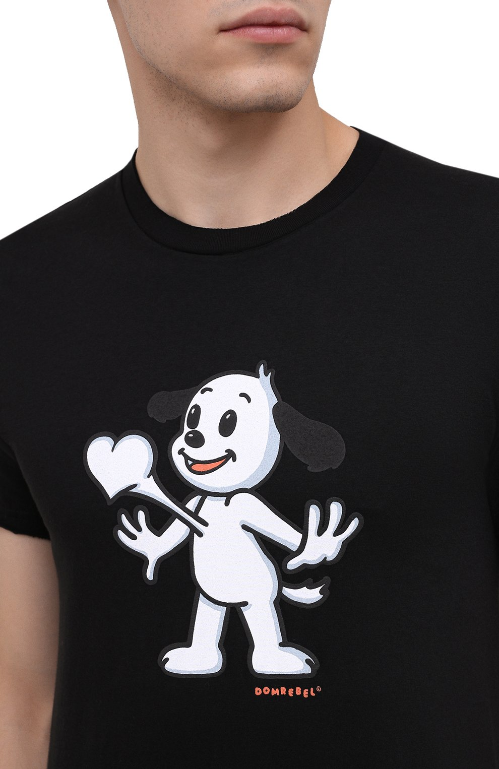 Мужская хлопковая футболка DOM REBEL черного цвета, арт. HEARTBEAT/T-SHIRT | Фото 5