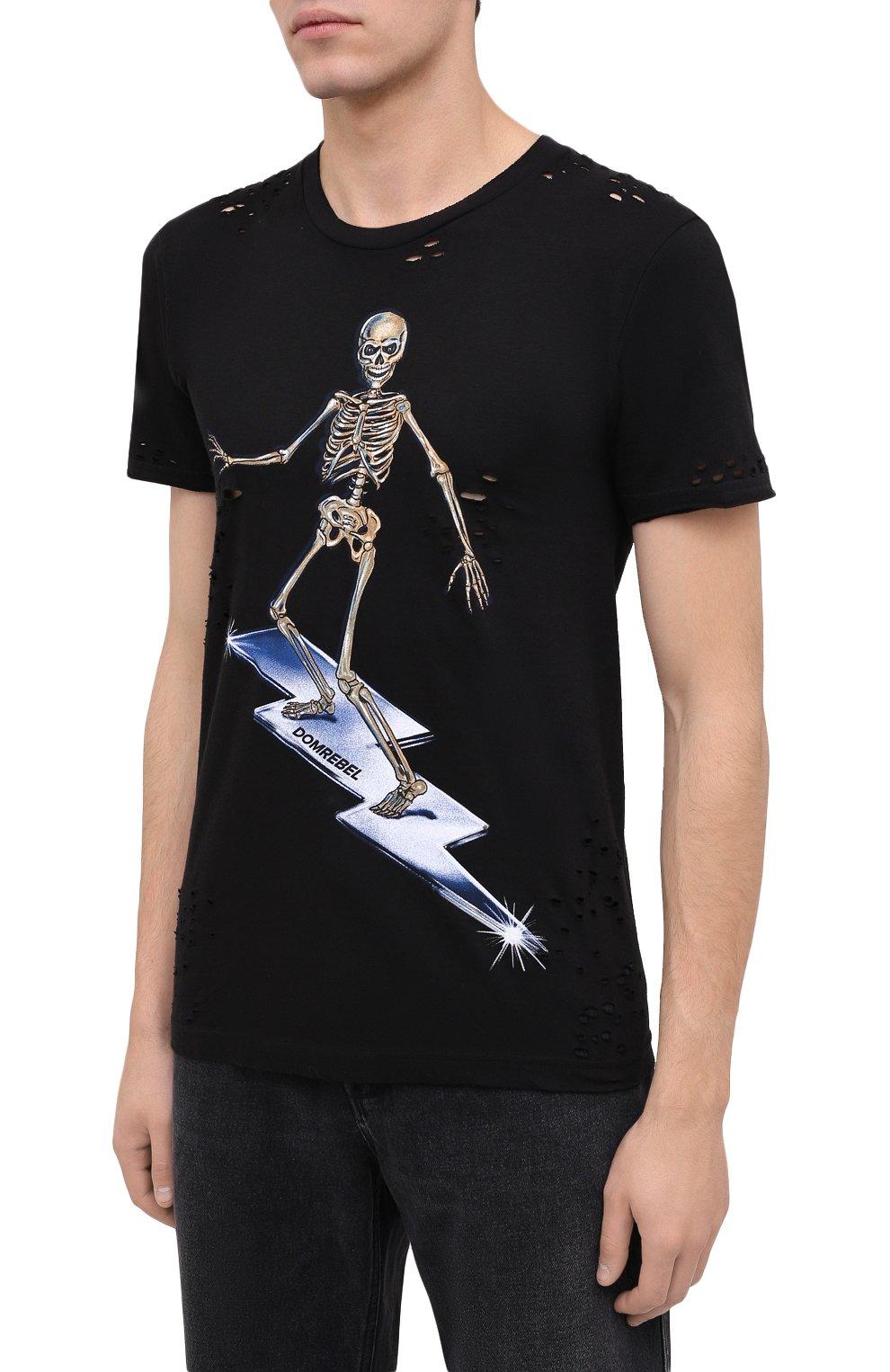 Мужская хлопковая футболка DOMREBEL черного цвета, арт. SKELESURF/T-SHIRT/H0LES | Фото 3