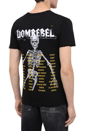 Мужская хлопковая футболка DOMREBEL черного цвета, арт. SKELESURF/T-SHIRT/H0LES | Фото 4