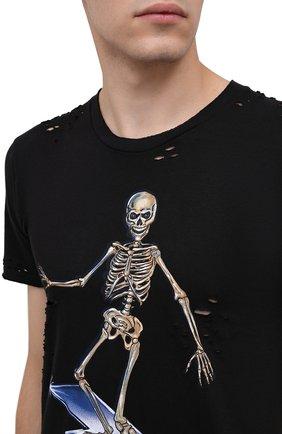 Мужская хлопковая футболка DOMREBEL черного цвета, арт. SKELESURF/T-SHIRT/H0LES | Фото 5