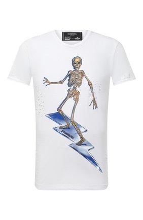 Мужская хлопковая футболка DOM REBEL белого цвета, арт. SKELESURF/T-SHIRT/H0LES | Фото 1