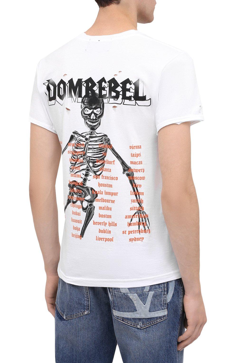 Мужская хлопковая футболка DOM REBEL белого цвета, арт. SKELESURF/T-SHIRT/H0LES | Фото 4