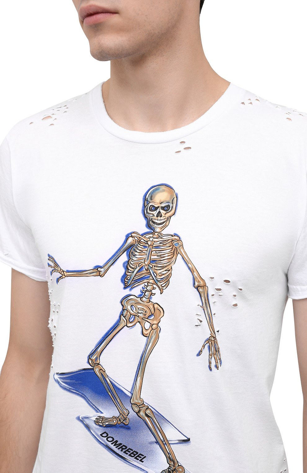 Мужская хлопковая футболка DOM REBEL белого цвета, арт. SKELESURF/T-SHIRT/H0LES | Фото 5