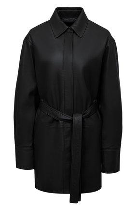 Женская кожаная рубашка JOSEPH черного цвета, арт. JF004954 | Фото 1