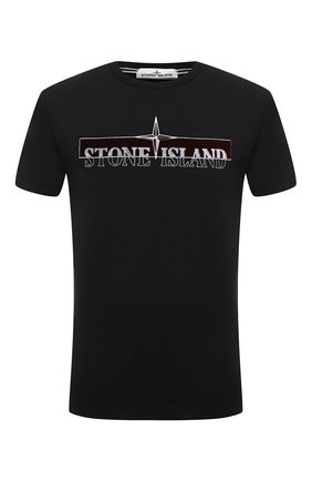 Мужская хлопковая футболка STONE ISLAND черного цвета, арт. 73152NS83   Фото 1