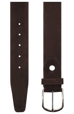 Мужской замшевый ремень BRIONI темно-коричневого цвета, арт. 0BAT0L/09722 | Фото 2