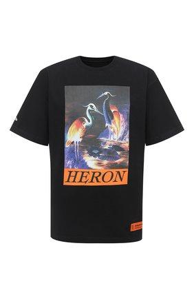 Мужская хлопковая футболка HERON PRESTON черного цвета, арт. HMAA020F20JER0021020 | Фото 1