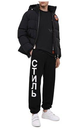 Мужской хлопковые джоггеры HERON PRESTON черного цвета, арт. HMCH014F20JER0021001 | Фото 2