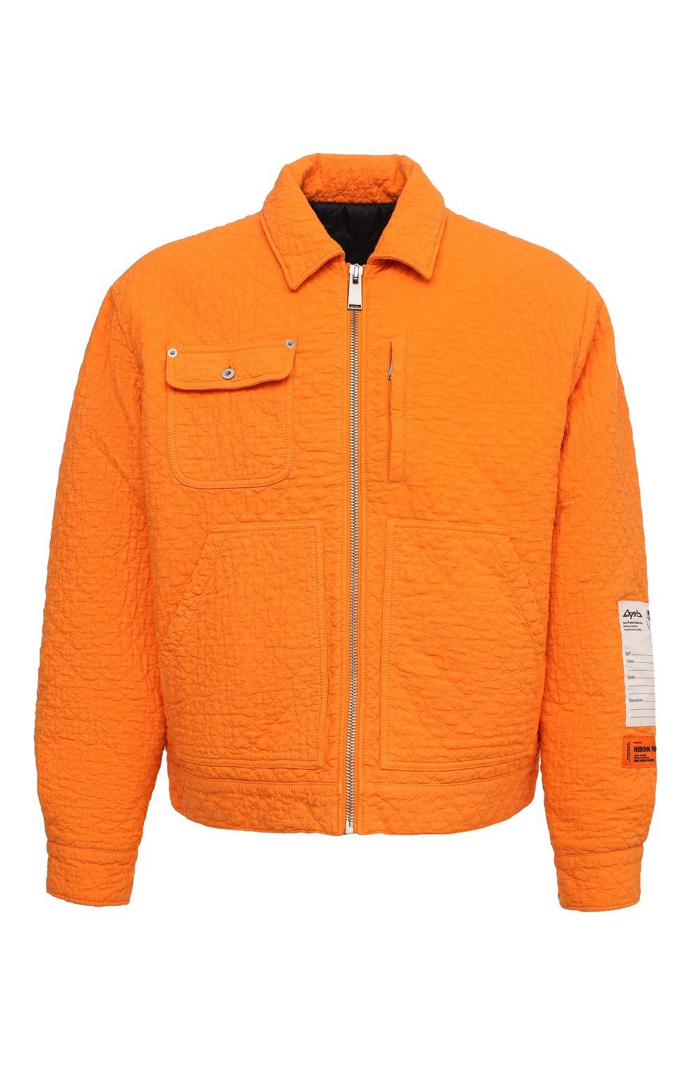 Мужская хлопковая куртка HERON PRESTON оранжевого цвета, арт. HMEA052F20FAB0012200 | Фото 1 (Кросс-КТ: Куртка, Ветровка; Рукава: Длинные; Материал внешний: Хлопок; Мужское Кросс-КТ: Куртка-верхняя одежда, Верхняя одежда; Материал подклада: Синтетический материал; Длина (верхняя одежда): Короткие)