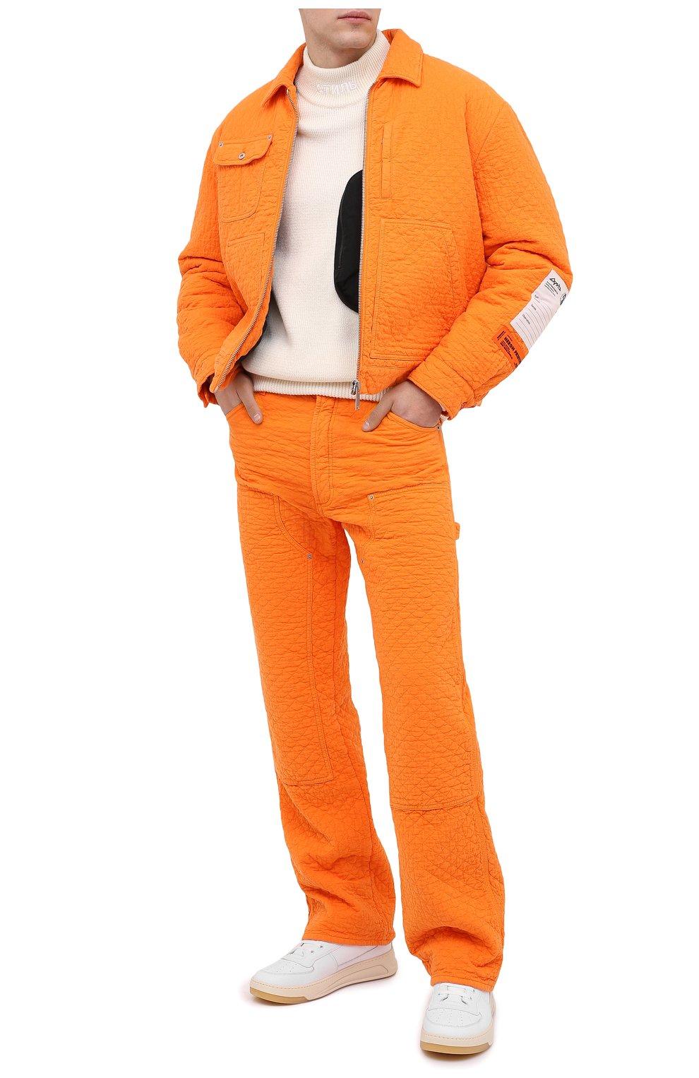 Мужская хлопковая куртка HERON PRESTON оранжевого цвета, арт. HMEA052F20FAB0012200 | Фото 2 (Кросс-КТ: Куртка, Ветровка; Рукава: Длинные; Материал внешний: Хлопок; Мужское Кросс-КТ: Куртка-верхняя одежда, Верхняя одежда; Материал подклада: Синтетический материал; Длина (верхняя одежда): Короткие)