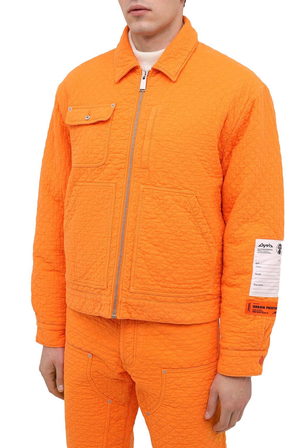 Мужская хлопковая куртка HERON PRESTON оранжевого цвета, арт. HMEA052F20FAB0012200 | Фото 4 (Кросс-КТ: Куртка, Ветровка; Рукава: Длинные; Материал внешний: Хлопок; Мужское Кросс-КТ: Куртка-верхняя одежда, Верхняя одежда; Материал подклада: Синтетический материал; Длина (верхняя одежда): Короткие)