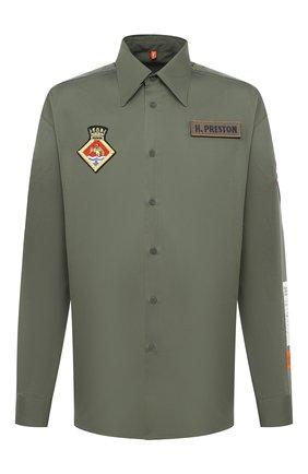 Мужская хлопковая рубашка HERON PRESTON хаки цвета, арт. HMGA025F20FAB0015500 | Фото 1