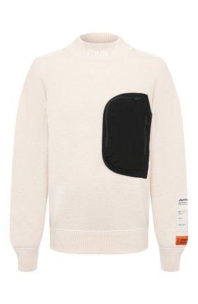 Мужской свитер HERON PRESTON белого цвета, арт. HMHF002F20KNI0010400 | Фото 1