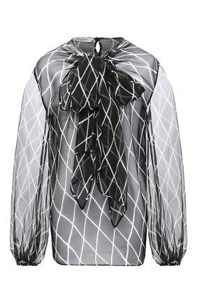 Женская шелковая блузка VALENTINO черно-белого цвета, арт. UB3AE4X55KD   Фото 1