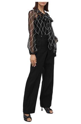 Женская шелковая блузка VALENTINO черно-белого цвета, арт. UB3AE4X55KD   Фото 2