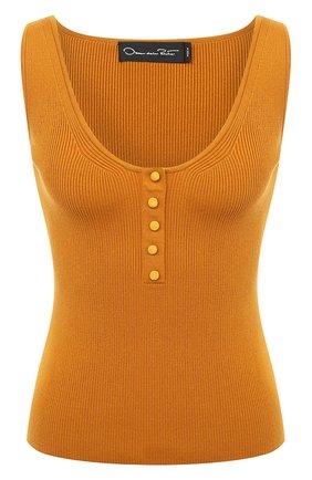Женский шелковая майка OSCAR DE LA RENTA оранжевого цвета, арт. 20PN105CRB | Фото 1