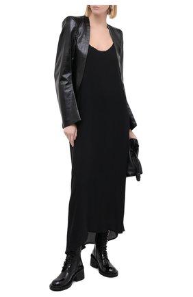 Женское шелковое платье ISABEL BENENATO черного цвета, арт. DW33F20   Фото 2