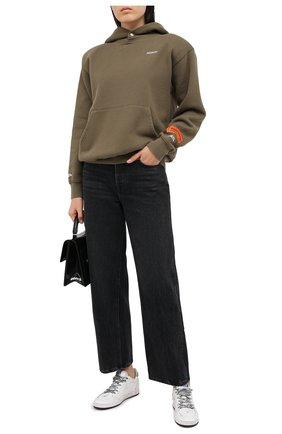 Женская хлопковое худи HERON PRESTON хаки цвета, арт. HWBB015E20JER0025501   Фото 2