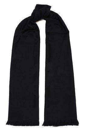Женский шерстяной шарф SAINT LAURENT темно-синего цвета, арт. 641910/3Y210 | Фото 1 (Материал: Шерсть)