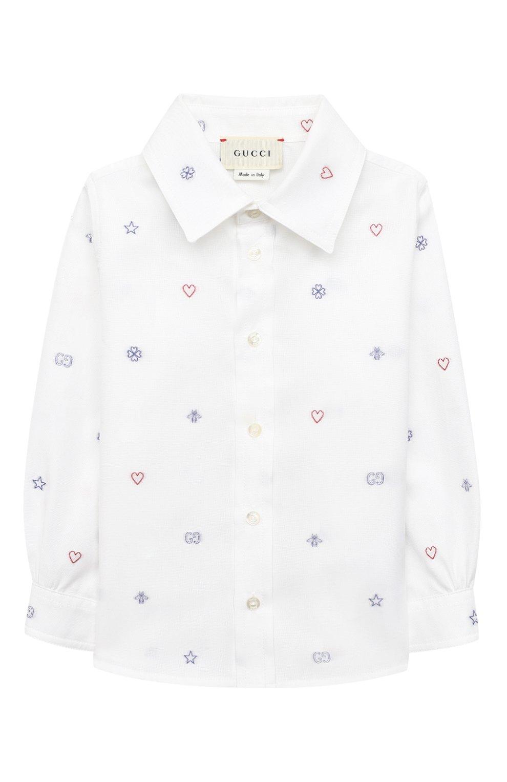 Детский хлопковая рубашка GUCCI белого цвета, арт. 626670/XWAKV   Фото 1