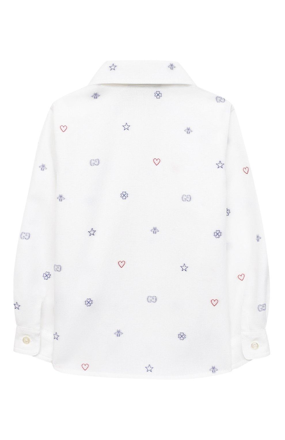 Детский хлопковая рубашка GUCCI белого цвета, арт. 626670/XWAKV   Фото 2